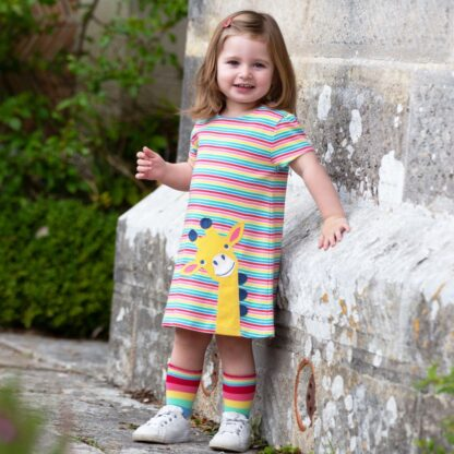 rainbow giraffe baby dress