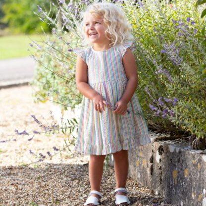 organic seersucker rainbow baby dress
