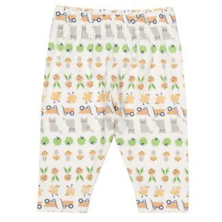 cream printed baby leggings