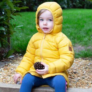 yellow baby coat in recycled nylon