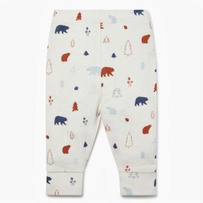 white printed forest bear leggings