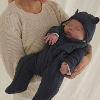 autumn baby clothes mori pramsuit in navy
