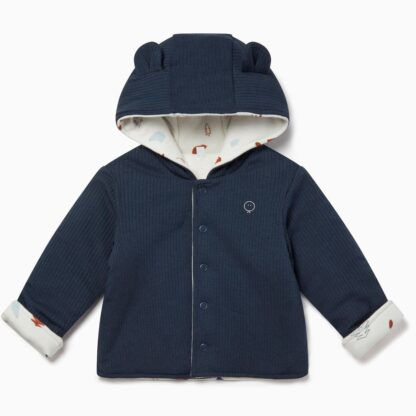 navy and white printed reversible baby coat