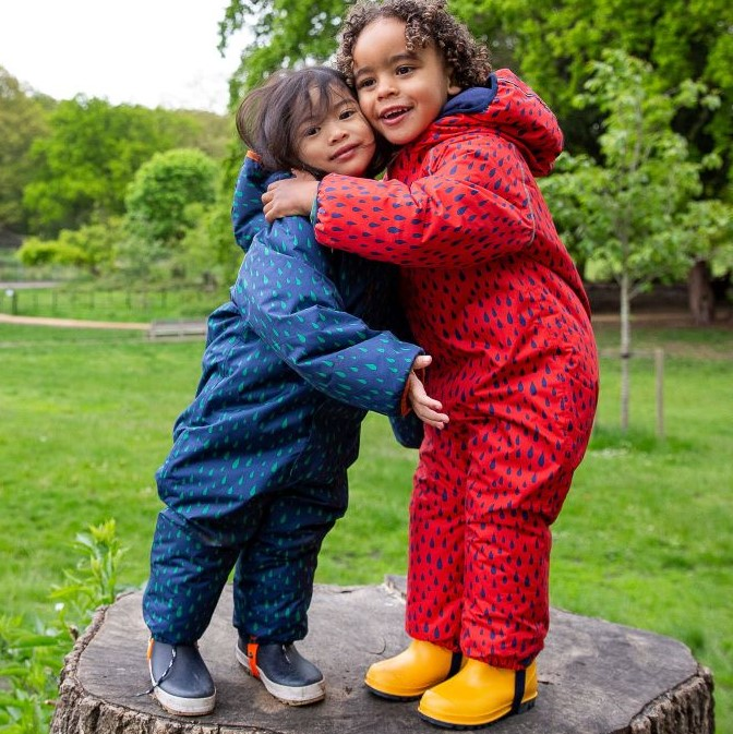 Two children in red and blue puddlesuits