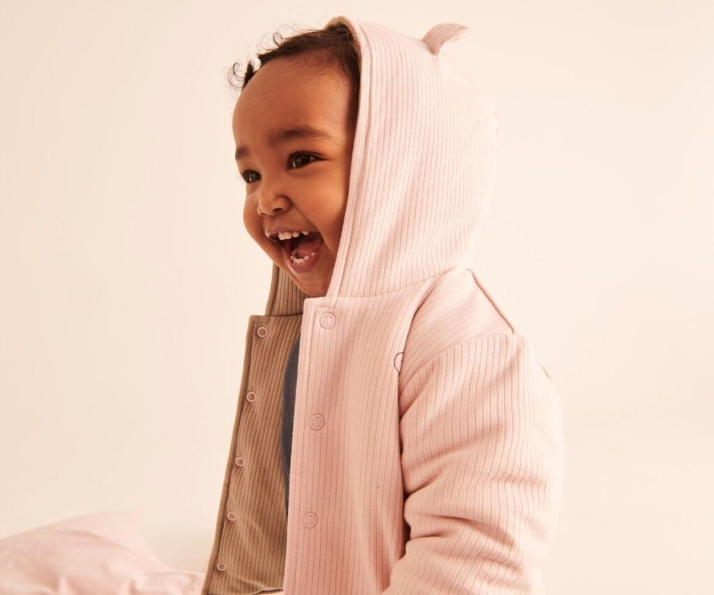 Child wearing clothing by Mori made with bamboo