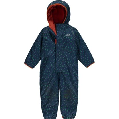 recycled navy raindrop baby puddlesuit