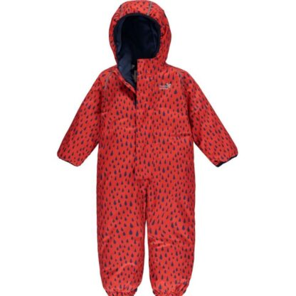 0-6m ecowarm red baby puddlesuit