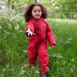 red raindrop baby puddlesuit